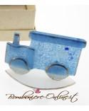 Sopramobile a forma di trenino in vetro di murrina blu