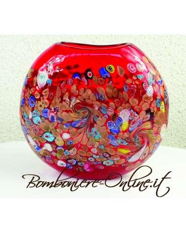 Vaso in vetro di Murrina tondo colore rosso