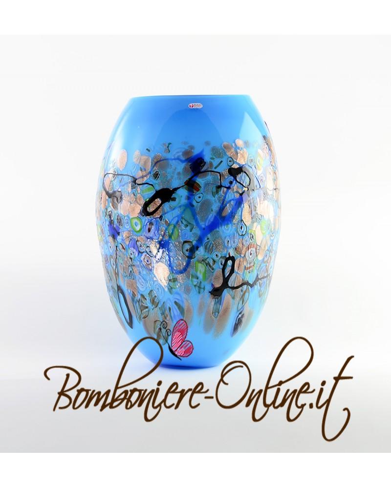 Vaso in vetro di Murrina colore azzurro