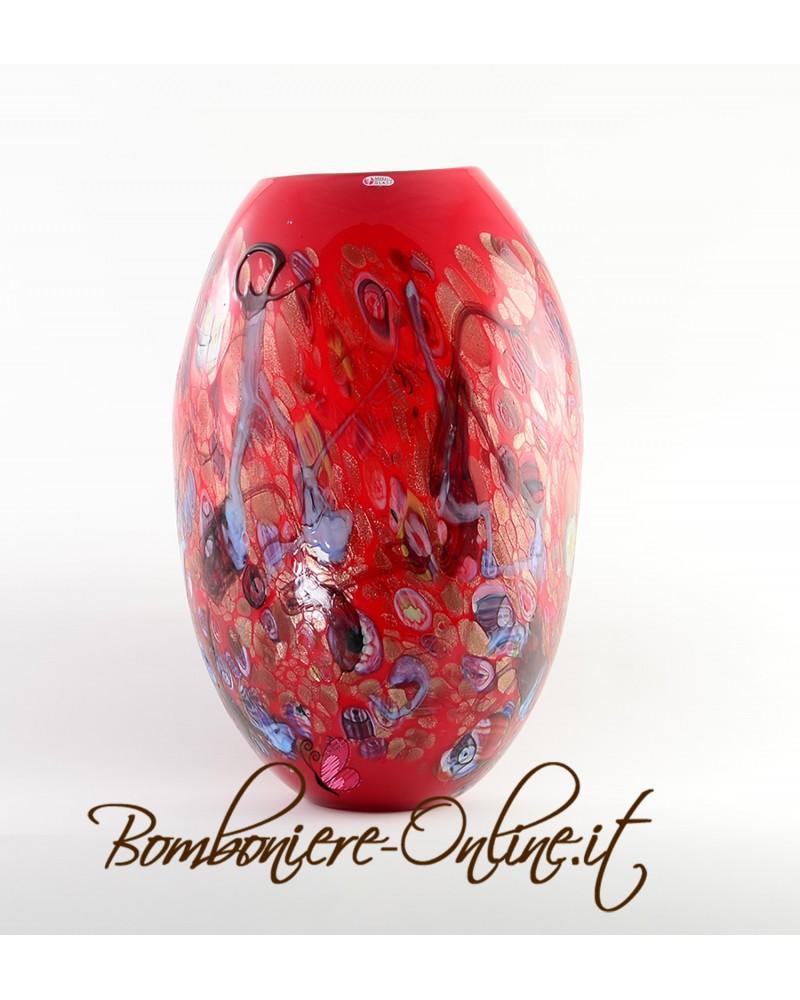 Vaso in vetro di Murrina colore rosso