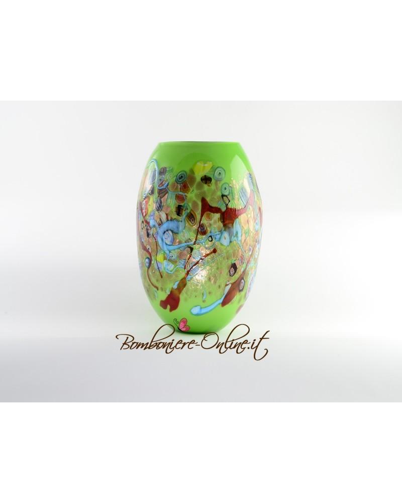 Vaso in vetro di Murrina colore verde