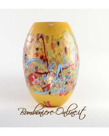 Vaso in vetro di Murrina colore giallo