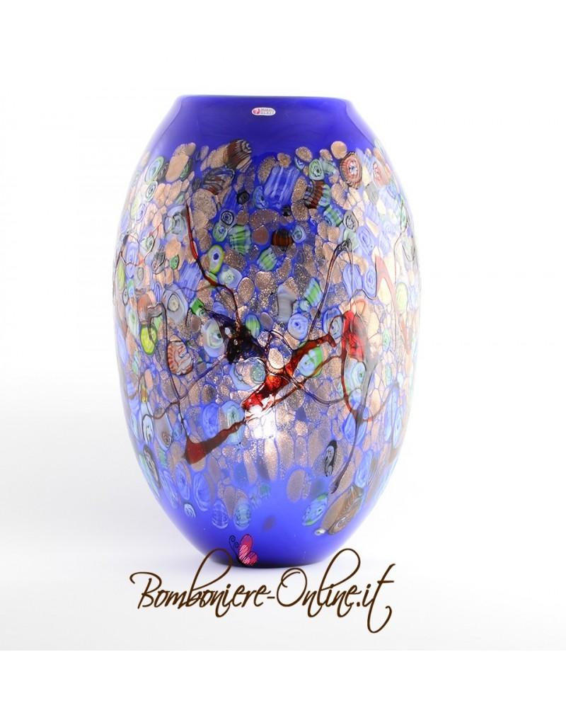 Vaso in vetro di Murrina colore blu