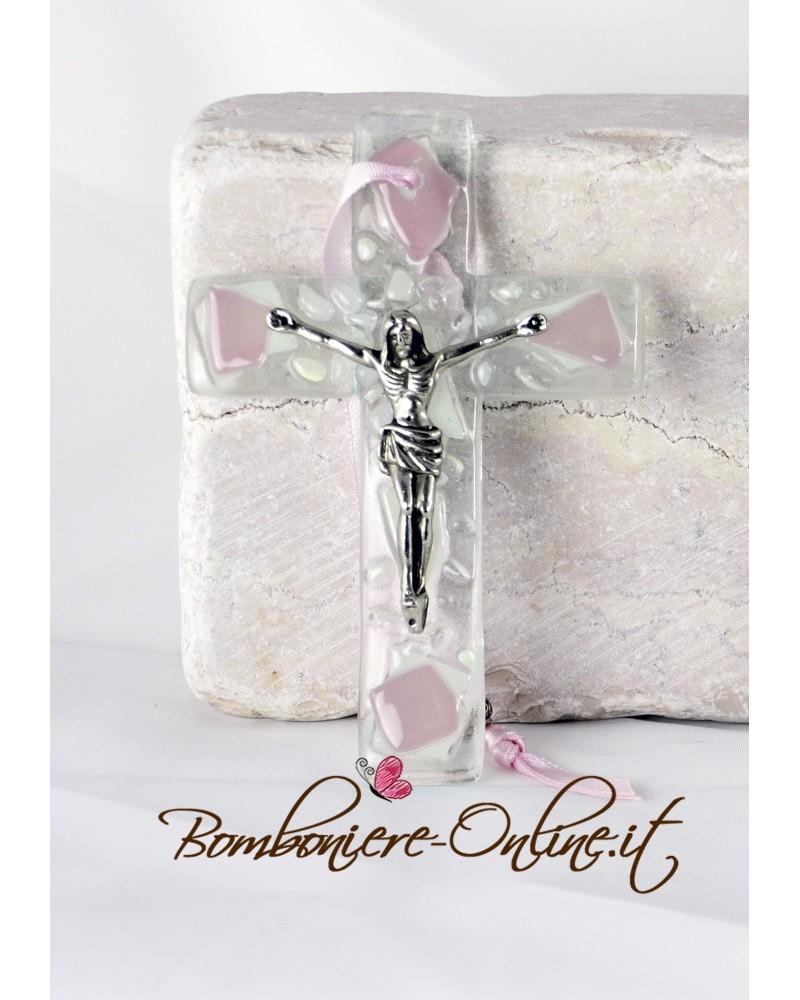 Crocefisso da muro in vetro colore bianco e rosa
