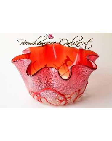 Fazzoletto in vetro tondo colore rosso
