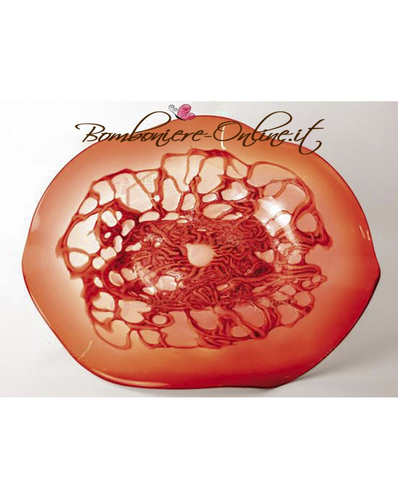 Centro tavola in vetro di forma tonda colore rosso. Bomboniere testimoni nozze e genitori