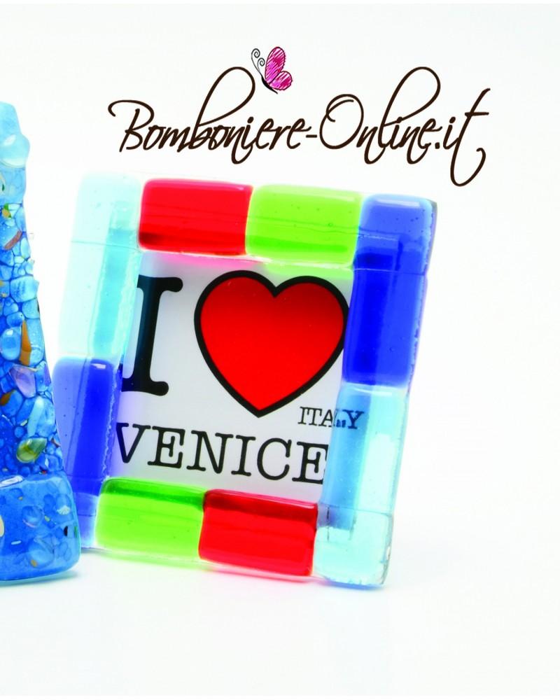 Cornice portafoto in vetro e plexiglass blu piccola