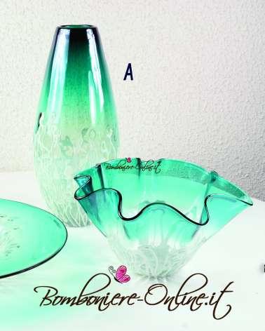 Vaso in vetro Iride azzurro e fili bianchi