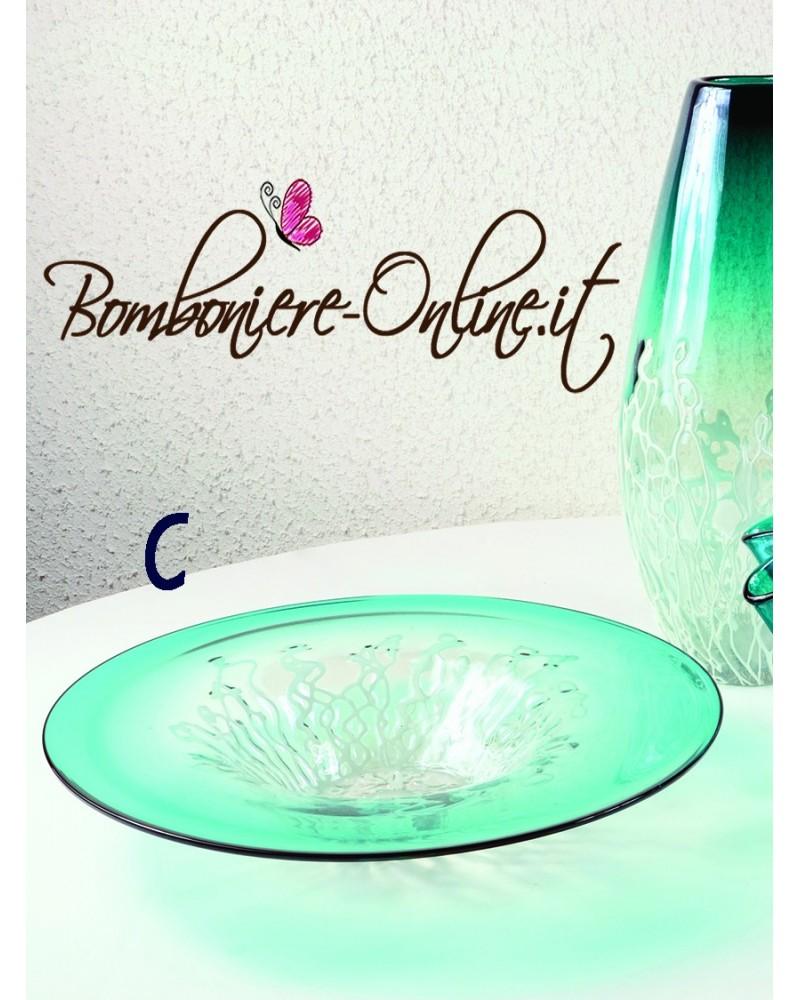 "Centro tavola  in vetro Iride azzurro e fili bianchi ""C"""