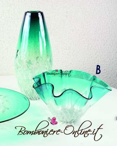 """Fazzoletto  in vetro Iride azzurro e fili bianchi """"B"""""""