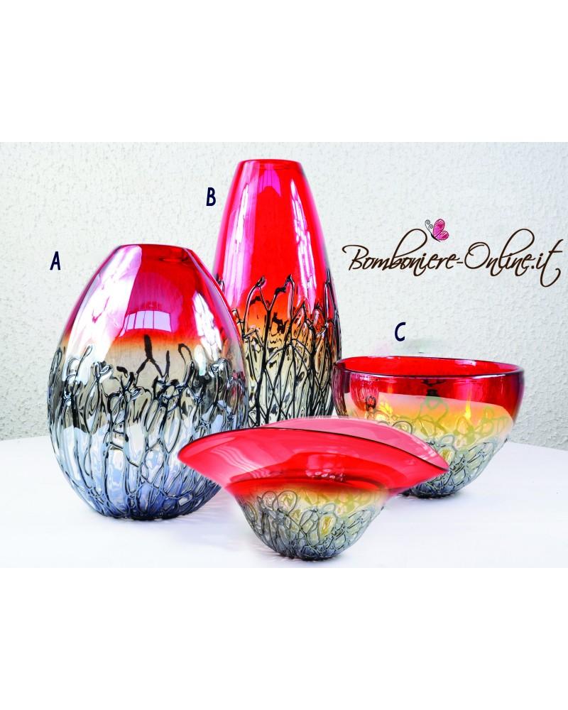 """Vaso in vetro Iride rosso e nero  """"A"""""""