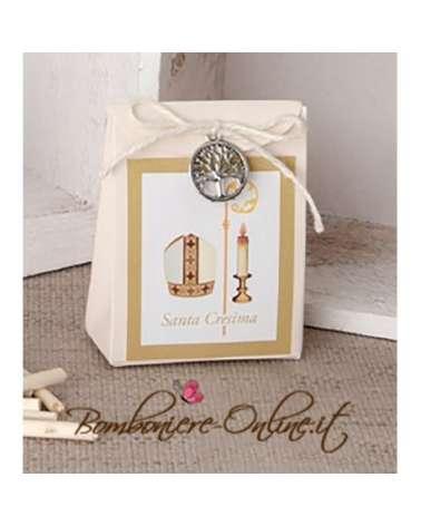 """Scatolina portaconfetti Santa Cresima in cartoncino con applicazione albero serie """"Gaia"""""""
