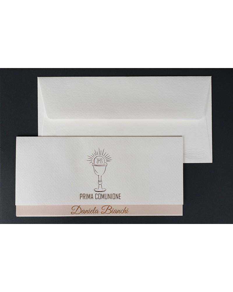 Invito Prima Comunione doppio cartoncino con pisside bronzo