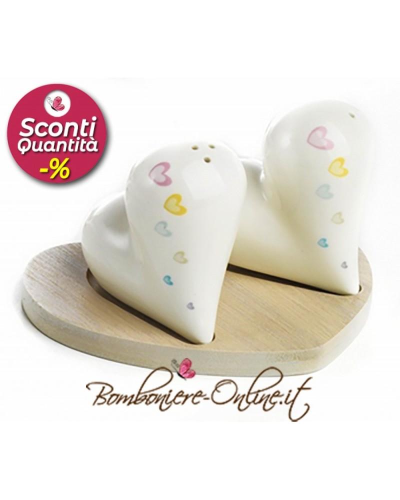 """Set per sale e pepe cuore in ceramica collezione """"Color heart"""""""
