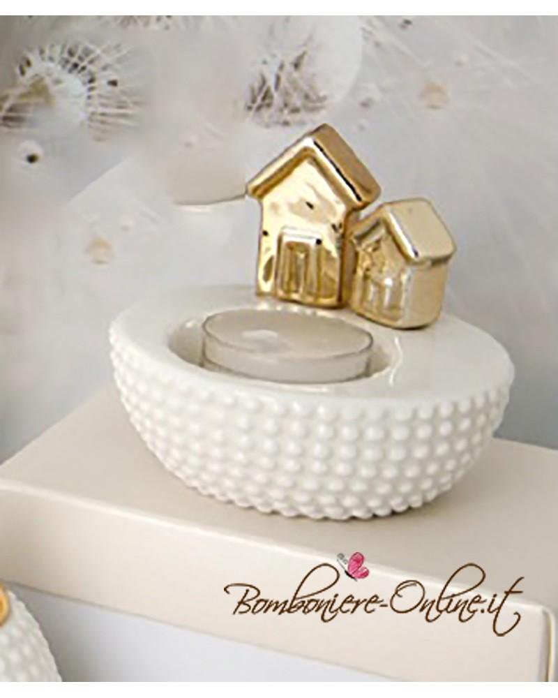 "Porta tea light ceramica linea ""Gold house"""
