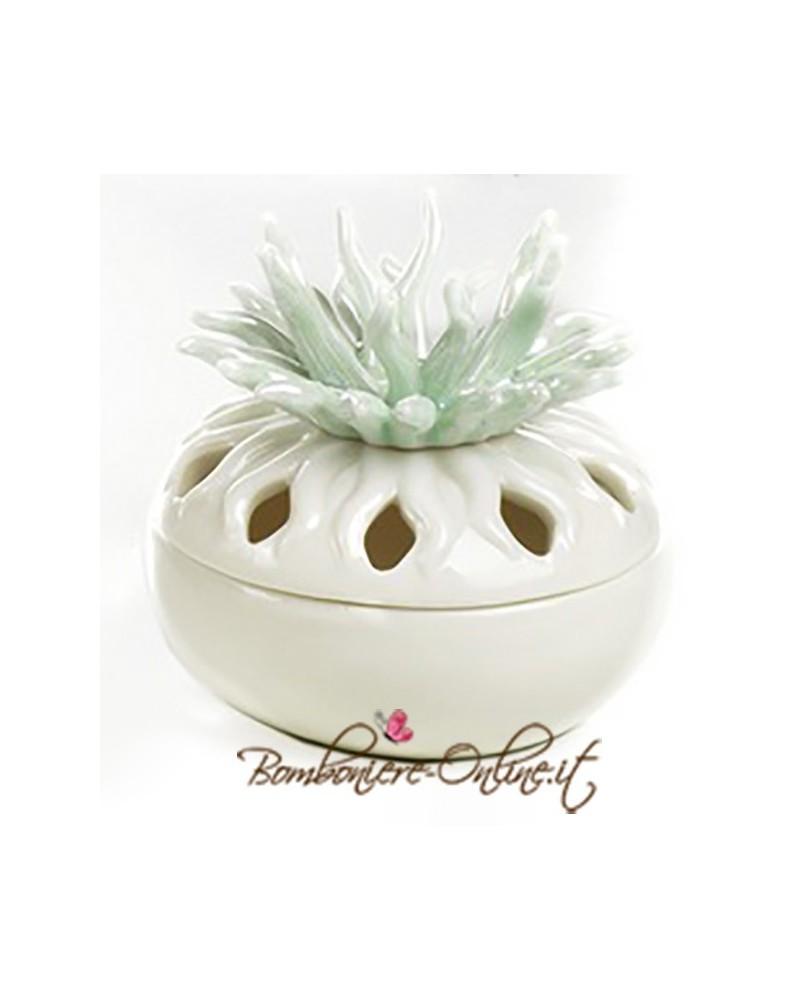 "Scatolina in ceramica linea ""Curly"" rami verdi"