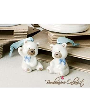 """Bomboniera battesimo Orsetto ceramica """"Bear"""" azzurro"""