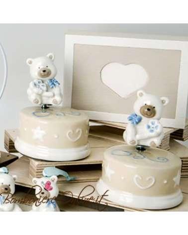 """Bomboniera battesimo: Carillon orsetto ceramica """"BEAR """" azzurro"""