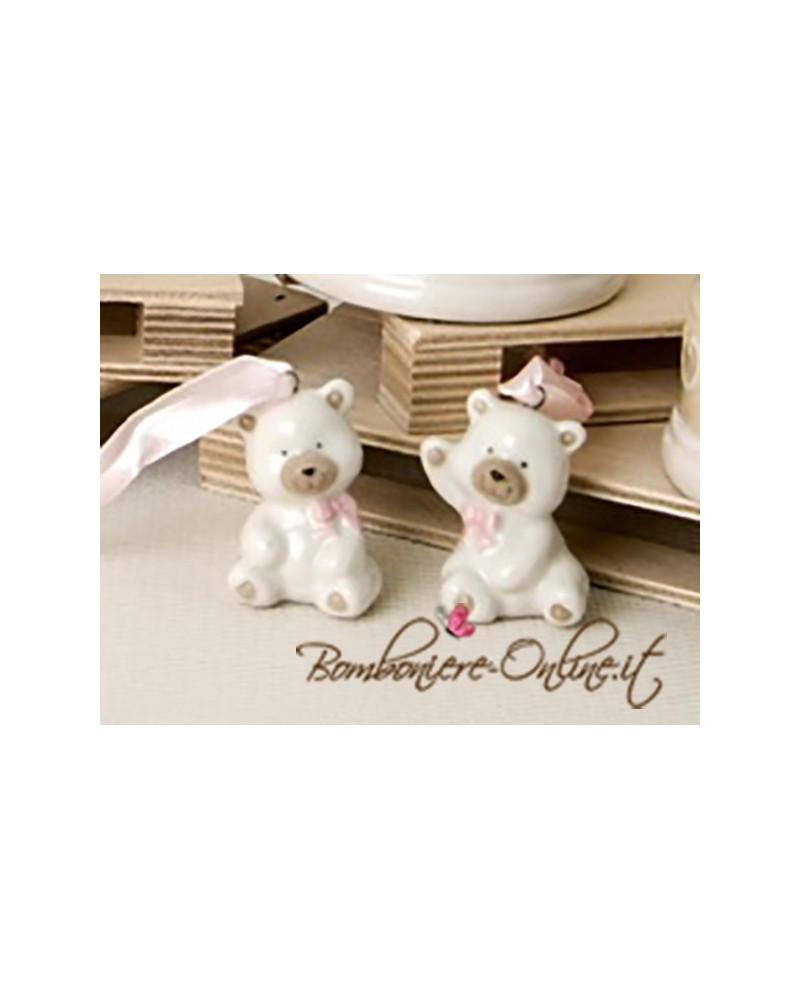 "Bomboniera battesimo: Orsetto porcellana ""Bear"" rosa"