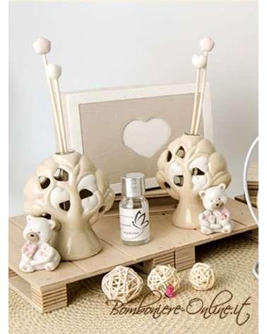 """Diffusore profuma ambienti con led orsetto ceramica """"BEAR """" rosa"""