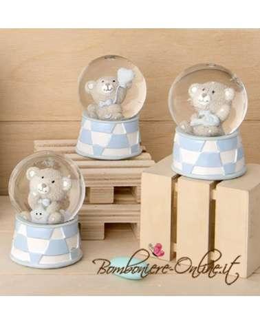"""Bomboniera Nascita e Battesimo bimbo: Sfera orsetto azzurro """"Glitter"""""""