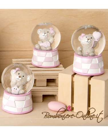 """Bomboniera Nascita e Battesimo bimba: Sfera orsetto rosa """"Glitter"""""""