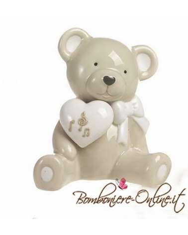 """Bomboniera salvadanaio orso collezione """"Bernie love music"""""""