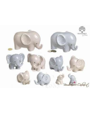 """Salvadanaio elefantino celeste in porcellana grande """"Lillo e Lilla"""""""