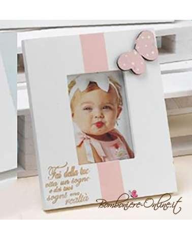 "Portafoto legno rosa/celeste baby ""Butterfly"" medio"
