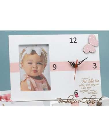 "Orologio portafoto in legno baby ""Butterfly"""