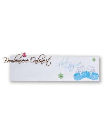 Biglietti bomboniera Felice Battesimo scarpine azzurre