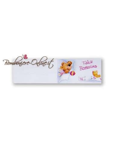 Biglietti bomboniera Felice Battesimo orsetto e anatroccolo rosa