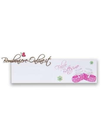 Biglietti bomboniera Felice Battesimo scarpine rosa