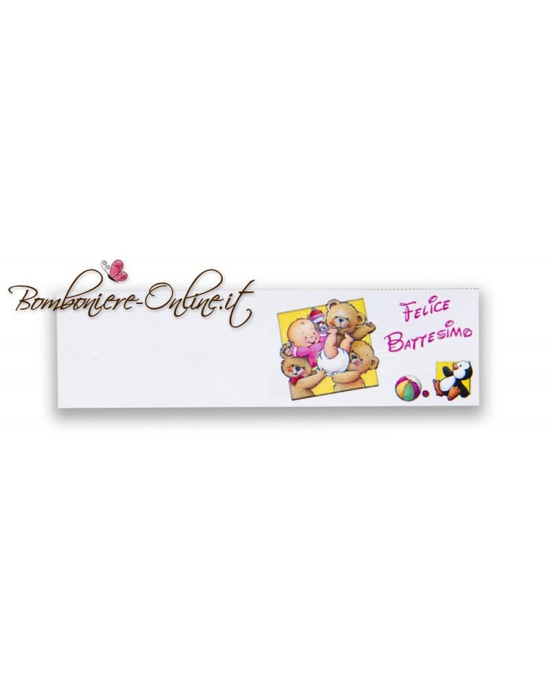Biglietti bomboniera Felice Battesimo orsetti e pinguino rosa