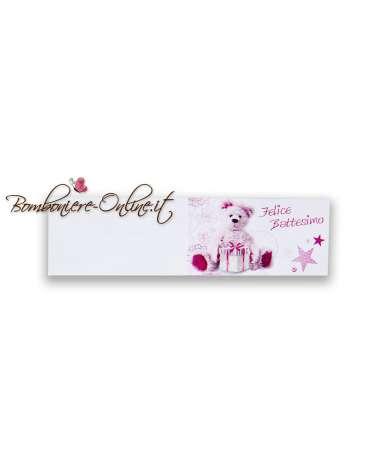 Biglietti bomboniera Felice Battesimo orsacchiotto rosa