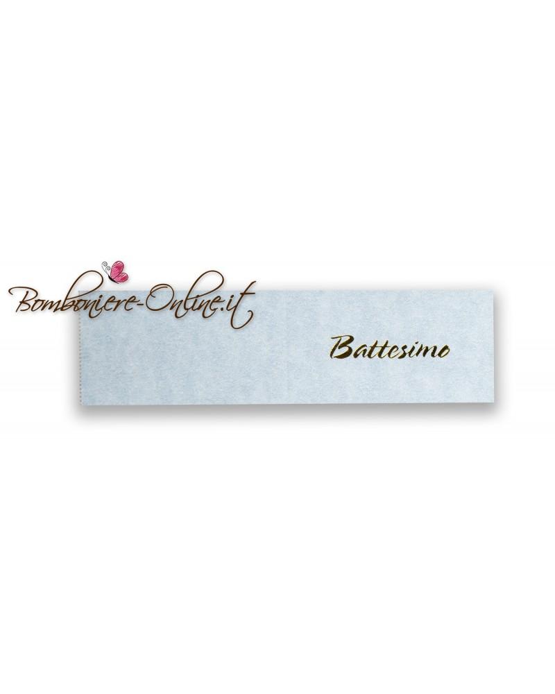 Biglietti bomboniera Battesimo azzurro scritta dorata