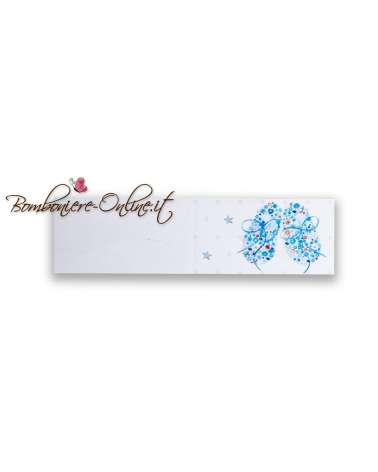 Biglietti bomboniera Battesimo azzurro scarpette fiorite