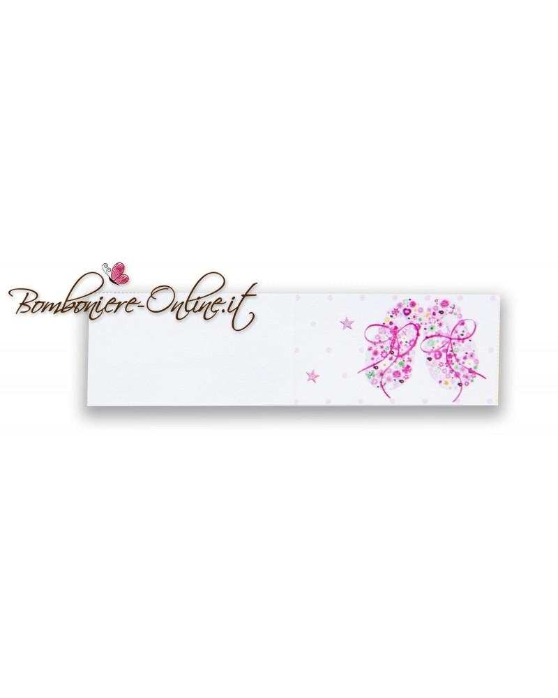 Biglietti bomboniera Battesimo rosa scarpette fiorite