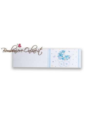 Biglietti bomboniera Battesimo azzurro carrozzina fiorita