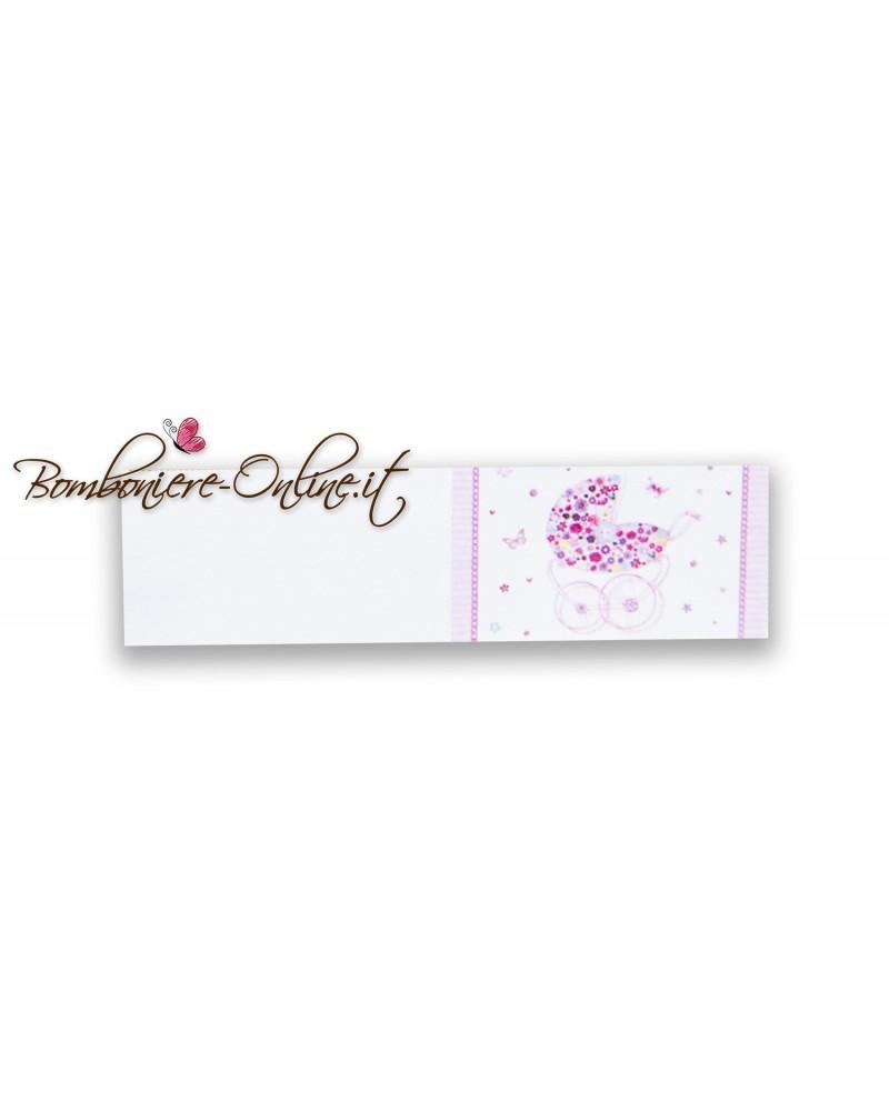 Bigliettini bomboniera o sacchetto confetti Battesimo o Nascita bimba carrozzina fiorita