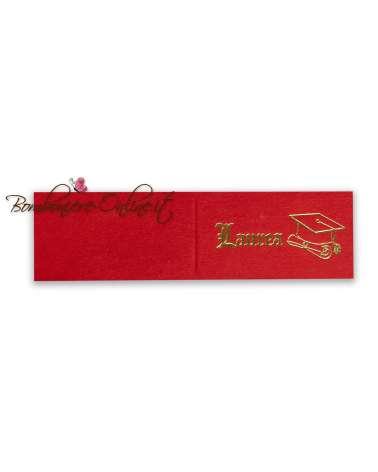 Biglietti bomboniera Laurea rosso scritta oro