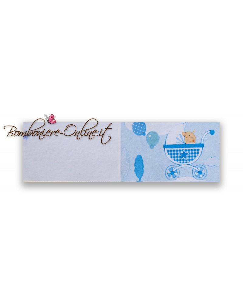 Biglietti bomboniera Battesimo bimbo Carrozzina azzurra