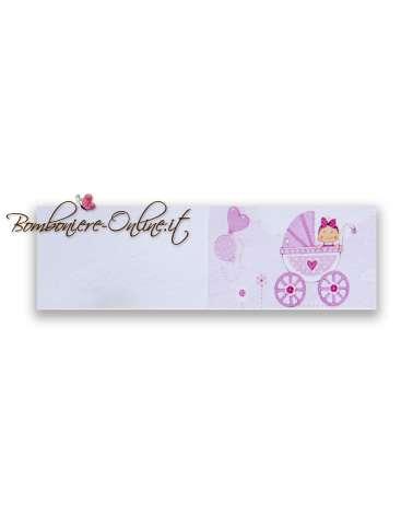 Biglietto bomboniera battesimo bimba Carrozzina rosa