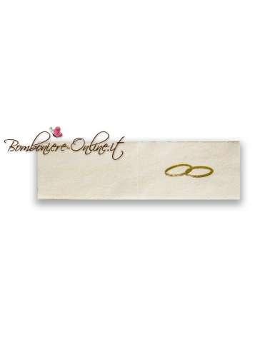 Biglietti bomboniera matrimonio pergamena fedi oro