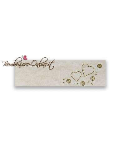 Biglietti bomboniera avorio matrimonio Cuori e fiori