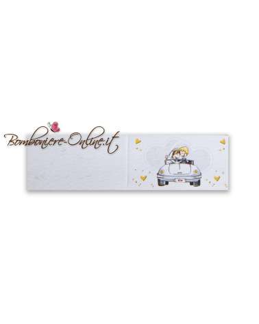 Biglietti bomboniera Sposi in auto Cuori e cuoricini