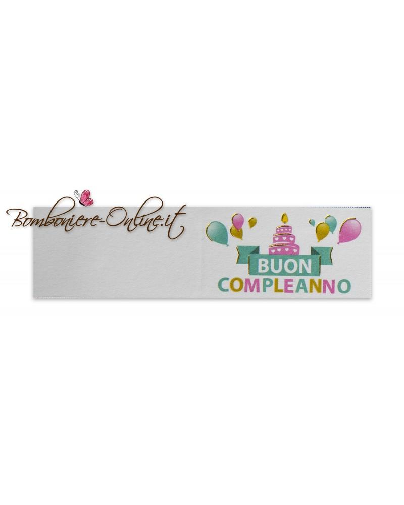 Biglietti bomboniera Buon Compleanno Cake and balloon color