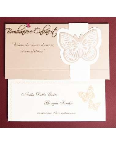 Partecipazione farfalle con scatola