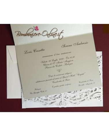 Partecipazione laser Celebrity grigio, rubino o rosa cipria