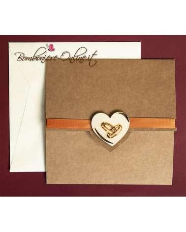 Partecipazione con cuore legno pirografato